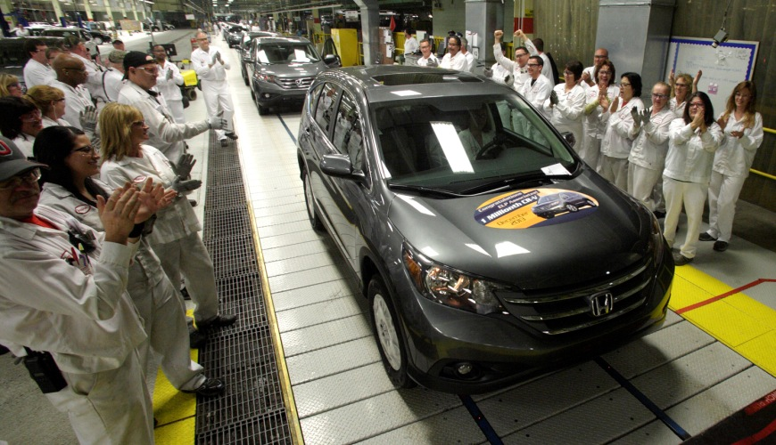 2013 - The East Liberty Auto Plant reached a milestone with the production of its one millionth CR-V sport utility vehicle in December